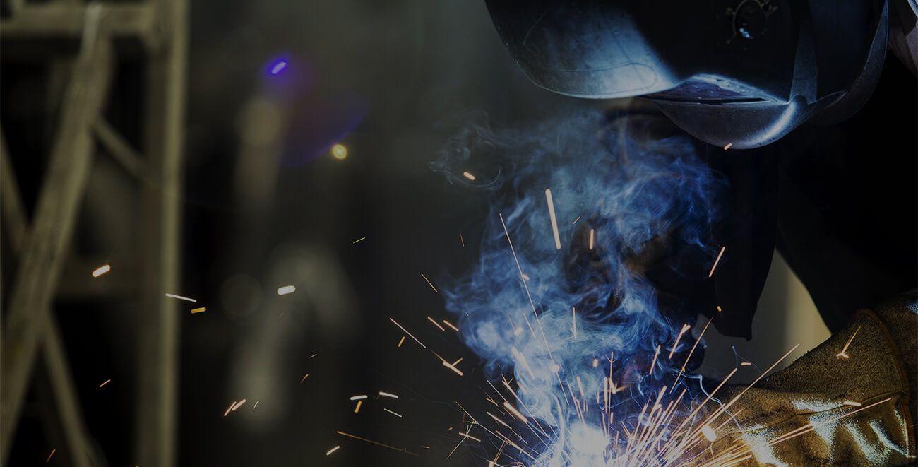 Industrial strike staff member working